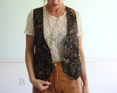 Tapestry Topper Vintage 90s Sleeveless Embroidered Floral Layering Waistcoat Vest S/M