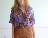 Watercolors in Versaille Vintage Early 90s SS Silk Art Printed Button Down Shirt MEDIUM M