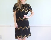 Twinkle Toes Vintage 80s SS Black and Gold SILK Sequined Cocktail Dress M/L