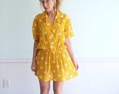 Carnival Date Vintage 60s SS Bright Yellow Polka Dot Printed Mini Shirt Waist Dress M/L Petite