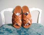 Woven Vintage 70s Genuine Leather Boho Sandals 36 6.5