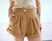Honey Tuck Vintage 80s/ Early 90s Woven High Waist Pleat Fron Shorts MEDIUM M