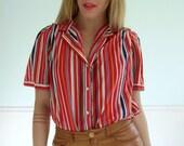 Celebration Stripe Vintage 80s SS Button Down Puff Shoulder Blouse Top M/L