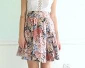 70s Floral Printed High Waist Pink Mini Skirt Full Circle Vintage XS