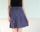 Vintage 60s 70s Navy Blue and White Polka Dot Printed High Waist Mini Skirt