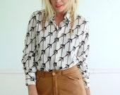 Givenchy for Chesa Vintage 70s LS Printed Geometric Shirt Top MEDIUM M