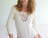 Fondant Lace Vintage 90s LS Creamy Ivory White Body Suit One Piece MEDIUM
