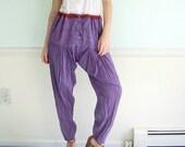 Berry Gush Vintage 70s Woven Cotton Harem Pants OSFM