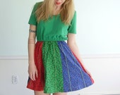 Color Wheel Vintage 60s SS Bright Green Floral Printed Mini Hippie Dress SMALL S