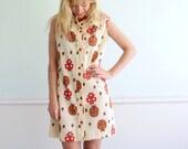 Lady Bug Printed Vintage 60s Sleeveless Mod Shift Dress MEDIUM M