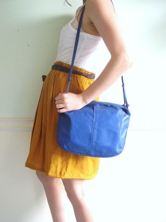DUKE'S MARINA Bright COBALT Blue Leather SHOULDER Bag
