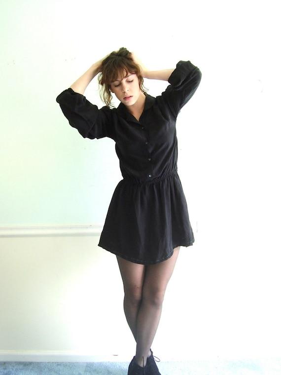 JET Black SILK 80s LS Mini Secretary Dress SMALL