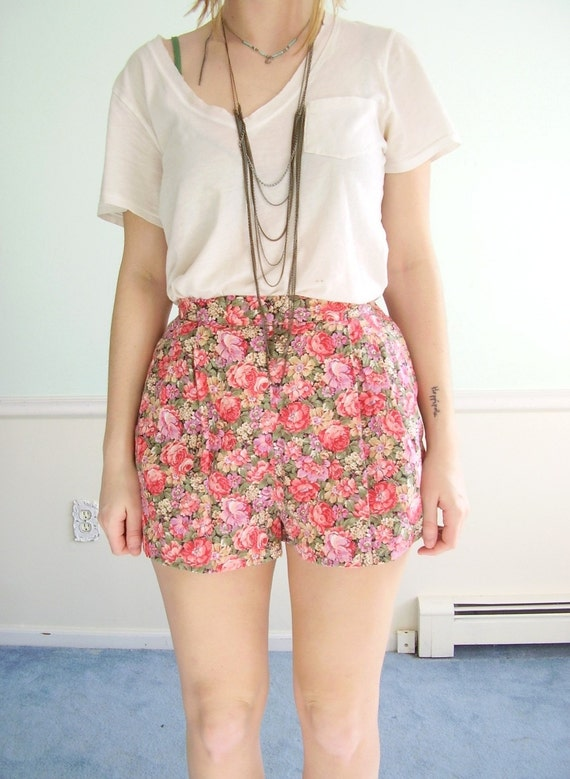 Pink Floral Printed Vintage Reconstructed High Waist Mini Shorts SMALL