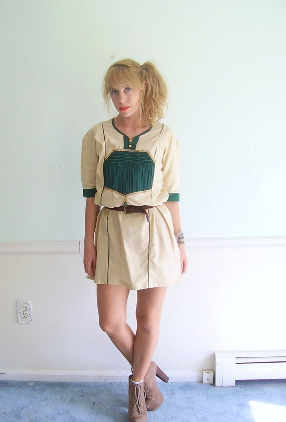 Honeycomb Geo Vintage 70s SS Ethnic Textured Natural Hued Boho Mini Dress S/M