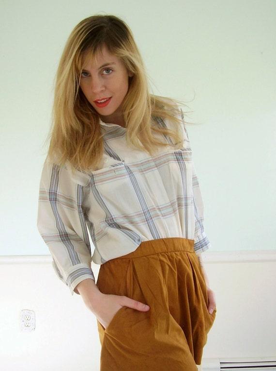 Painter's Plaid Vintage 80s Printed Button Down Shirt Top MEDIUM LARGE M L