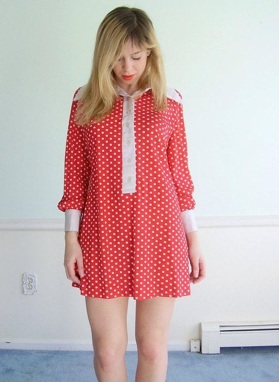 Minnie Dot Vintage 60s LS Red and White Polka Dot Print Mod Mini Shift Shirt Dress XS S