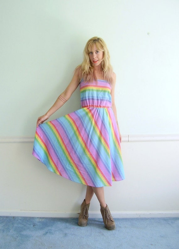 Rainbow Striped Vintage 70s Summer Dress SMALL S Sleeveless Day