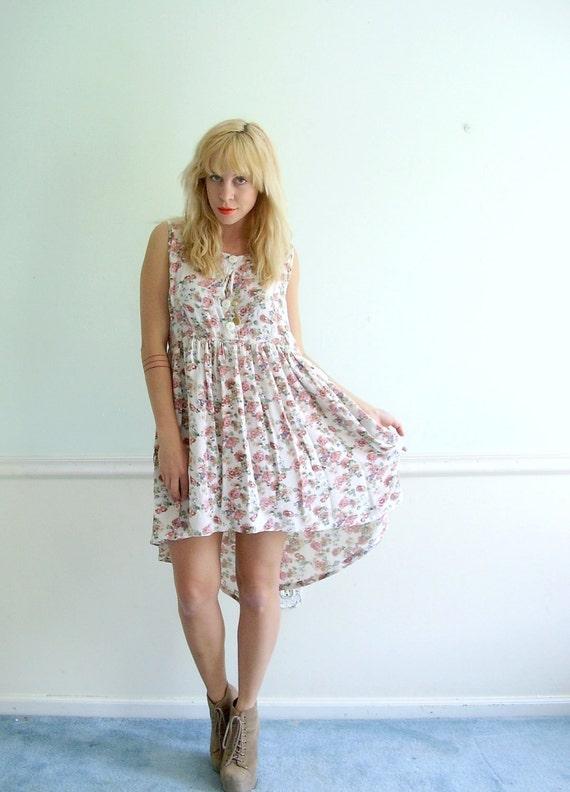 Floral High Low Fishtail Hem Dress Vintage 90s Grunge Mini Summer Boho Dress S M