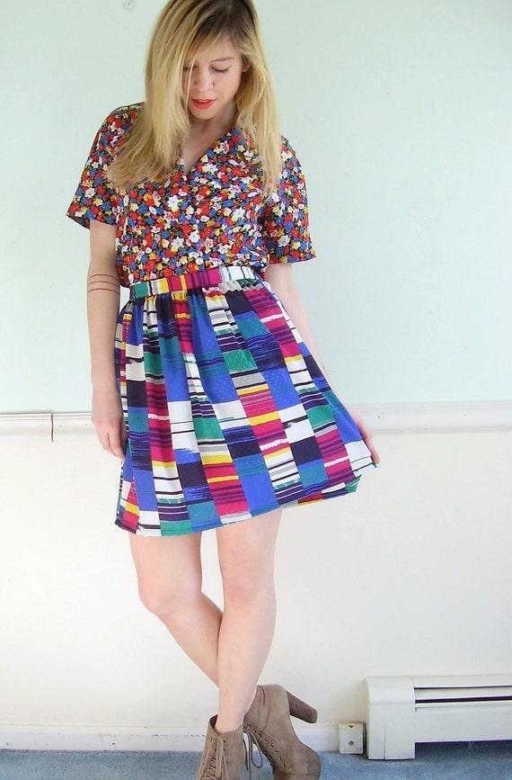 Mondrian Block Vintage 80s Neon Bright Silky High Waist Mini Skirt S M