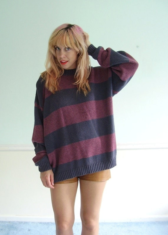 Striped Sweater - Varsity Blue and Red - Oversized Pullover - Vintage 90s L XL