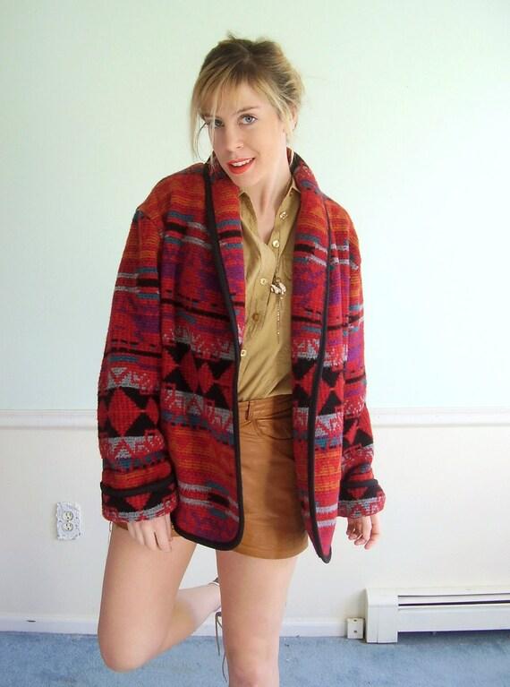Southwestern Stripe Vintage Early 90s LS Woven Shawl Collar Coat Jacket M L