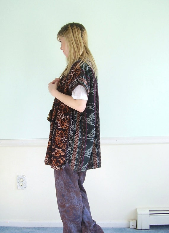 Tribal Weave Vintage 80s Multicolor Cotton Ethnic Layering Jacket OS OSFM