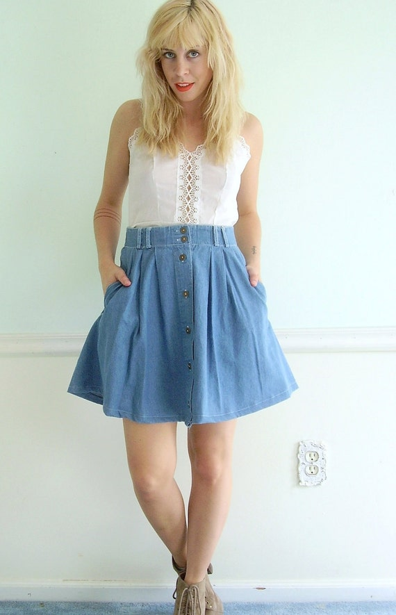 Denim High Waisted Mini Skirt Vintage Early 90s Full Swing MEDIUM
