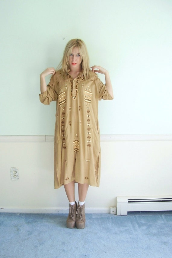Earth Clay Vintage 70s Embroidered Ethnic LS Mid Length Tunic Dress Large L