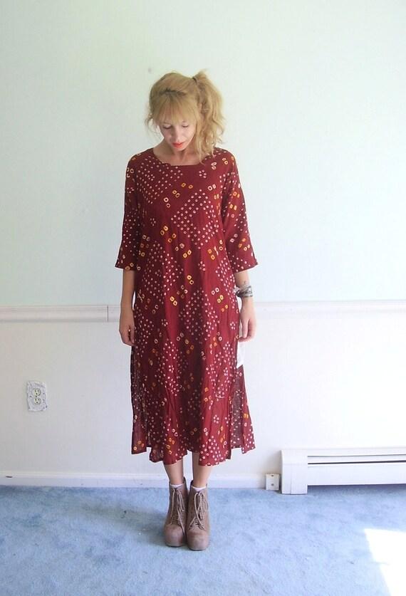 Paprika and Powders Vintage 70s Deep Red Geo Printed Cotton Boho Dress S/M