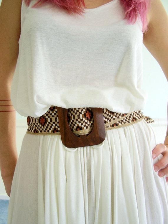 Woven Geometric Boho Belt Vintage 70s Wooden Buckled OSFA