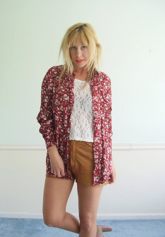 Red Floral Slouchy LS Button Down Shirt Vintage 90s Grunge LARGE L