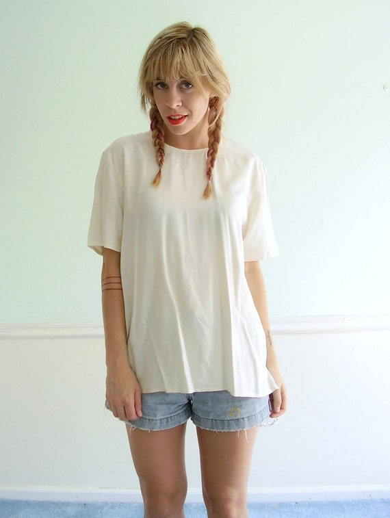 White Silk Blouse Top - Vintage 90s - Short Sleeve - MEDIUM M
