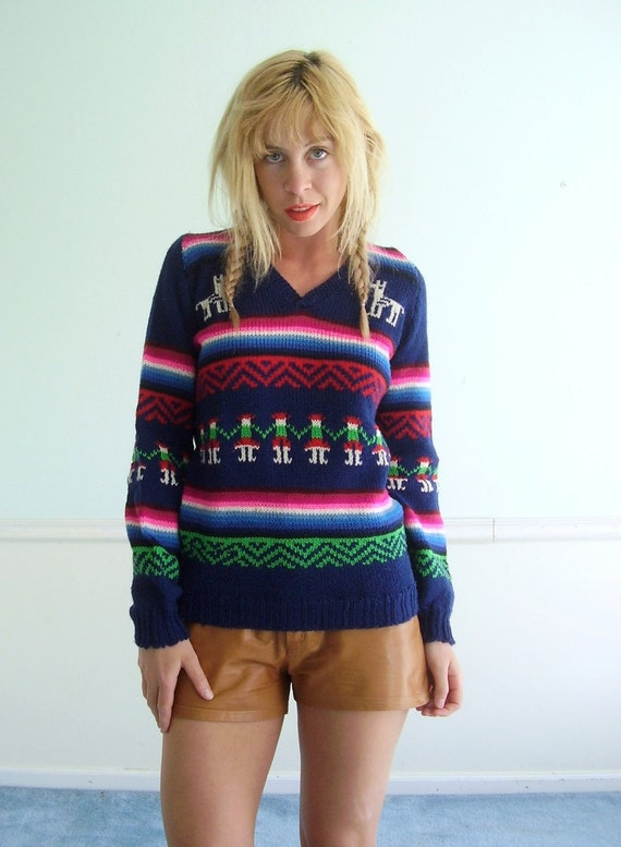 Vintage 70s 80s Bright Navy Striped Fiesta Pullover Sweater SMALL Neon Brights