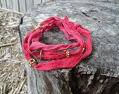 Gypsy Silk Fabric Wrap - Bright Pink/Red