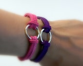 Suede Leather Bracelets, Pink leather, Purple leather, silver circle