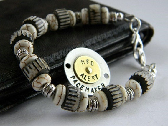 MENS Medical Alert Bracelet with Tag Beige & Black- By RosesDesigns