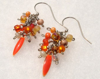 Rippin' Tangerine Cluster Earrings - Free Shipping within the U.S,