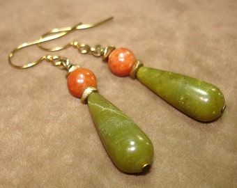Autumn Leaves Stone Drop Earrings - OOAK - No Shipping Charge within the U.S.
