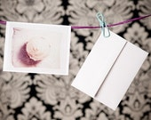 Free Shipping - Blank Folded Note Card with a Print of a Polaroid Emulsion Transfer of a Cupcake on the Front