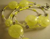 Bright Yellow and White beaded Lanyard AKA (ID badge holder)