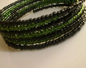 Bright and Colorful Seed Bead Memory Wrap Bracelet. Green and Black layered wrap.