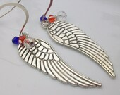 SALE 30 Percent Off Angel wing charmed earrings / Forth of July Earrings / Patriotic. Red White and Blue