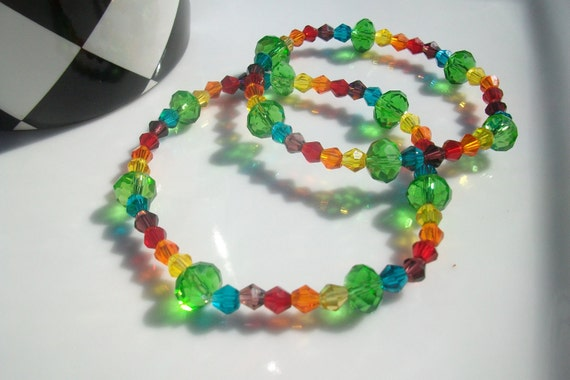Mother and Daughter Stretchy Bracelets / Rainbow Crystal beaded bicone bracelet, Red, Orange, Yellow, Green, Blue, and Purple