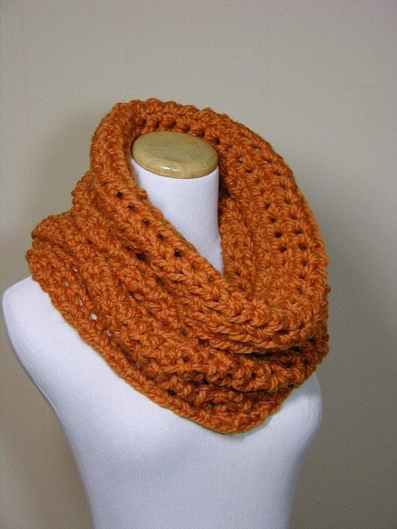 Rich warm scarf cowl neckwarmer hood in apricot orange