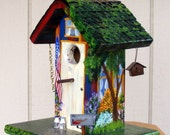 Outdoor Handcrafted Blue and Red Birdhouse