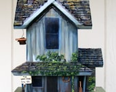 Farm Birdhouse, Hand Painted, Handmade Replica of Historic Farm, Painted Grays and Blues with Patriotic American Flag, Made in Oregon