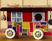 Bird House, Quilted Red Gypsy Wagon