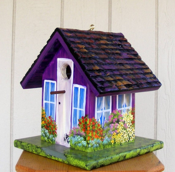 Birdhouse Handcrafted and Hand Painted Purple with a lot of Flowers