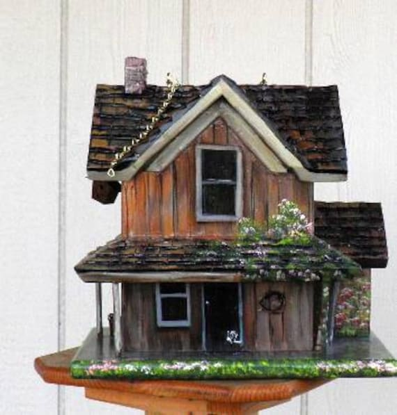 Brown Farm House Bird House, Hand Painted, Handmade with American Flag, Flowers and Miniatures