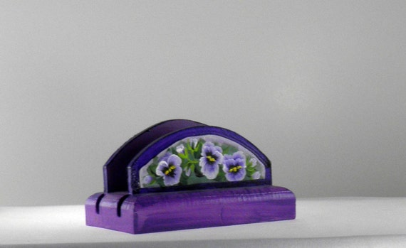 Purple Pansy Business Card Holder with Flowers